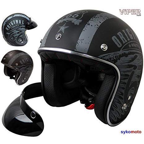 Viper Helmets Casco Aperto da Moto RSV06 Nero Opaco Star 53-54 cm