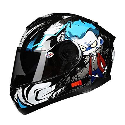 Protectwear Casco moto nero viola per le donne FS-801-SL,Taglia L disegno fiori
